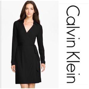 New Calvin Klein Black Collar Wrap Dress